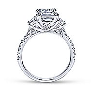 Monroe 14k White Gold Cushion Cut 3 Stones Engagement Ring angle 2