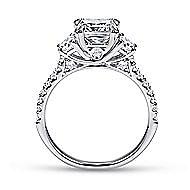 Monroe 14k White Gold Cushion Cut 3 Stones Engagement Ring angle 2