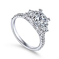 Monroe 14k White Gold Cushion Cut 3 Stones Engagement Ring angle 3