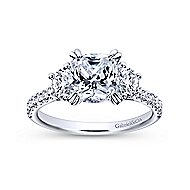 Monroe 14k White Gold Cushion Cut 3 Stones Engagement Ring angle 5
