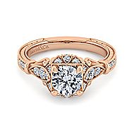 Montgomery 14k Rose Gold Round Halo Engagement Ring angle 1