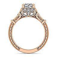 Montgomery 14k Rose Gold Round Halo Engagement Ring angle 2