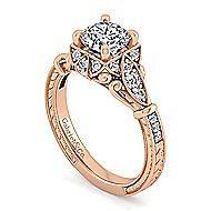 Montgomery 14k Rose Gold Round Halo Engagement Ring angle 3