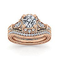Montgomery 14k Rose Gold Round Halo Engagement Ring angle 4