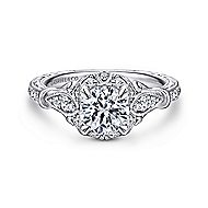 Montgomery 14k White Gold Round Halo Engagement Ring angle 1