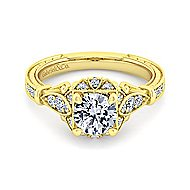 Montgomery 14k Yellow Gold Round Halo Engagement Ring angle 1