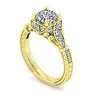 Montgomery 14k Yellow Gold Round Halo Engagement Ring angle 3