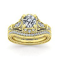 Montgomery 14k Yellow Gold Round Halo Engagement Ring angle 4