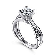 Morgan 14k White Gold Round Twisted Engagement Ring angle 3