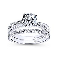 Morgan 14k White Gold Round Twisted Engagement Ring angle 4