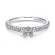Morris 14k White Gold Princess Cut Straight Engagement Ring angle 1
