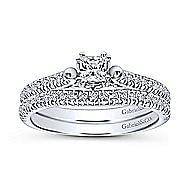Morris 14k White Gold Princess Cut Straight Engagement Ring angle 4