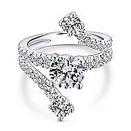 Mosaic 18k White Gold Round Split Shank Engagement Ring angle 1