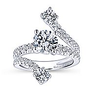 Mosaic 18k White Gold Round Split Shank Engagement Ring angle 5