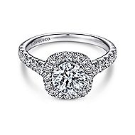 Mykonos 18k White Gold Round Halo Engagement Ring angle 1