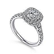 Mykonos 18k White Gold Round Halo Engagement Ring angle 3