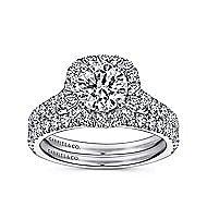 Mykonos 18k White Gold Round Halo Engagement Ring angle 4