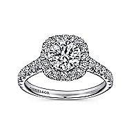Mykonos 18k White Gold Round Halo Engagement Ring angle 5