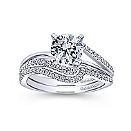 Naomi 14k White Gold Round Bypass Engagement Ring angle 4