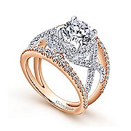 Naples 18k White And Rose Gold Round Split Shank Engagement Ring angle 3
