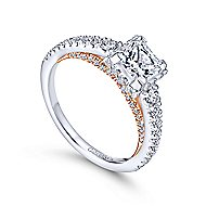 Natalia 14k White And Rose Gold Princess Cut Straight Engagement Ring angle 3