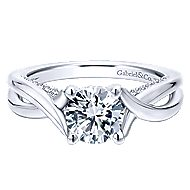 Nerine 14k White Gold Round Twisted Engagement Ring angle 1