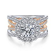 Nessa 18k White And Rose Gold Round Double Halo Engagement Ring angle 1