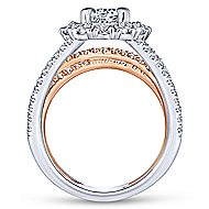 Nessa 18k White And Rose Gold Round Double Halo Engagement Ring angle 2