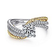 Neysa 14k Yellow And White Gold Round Bypass Engagement Ring