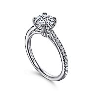 Nicky 18k White Gold Round Straight Engagement Ring angle 3
