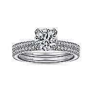Nicky 18k White Gold Round Straight Engagement Ring angle 4