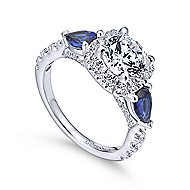 Nightshade 14k White Gold Round 3 Stones Halo Engagement Ring angle 3