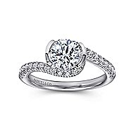 Nikko 14k White Gold Round Bypass Engagement Ring angle 5