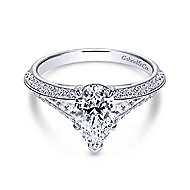 Nila 14k White Gold Pear Shape Split Shank Engagement Ring angle 1