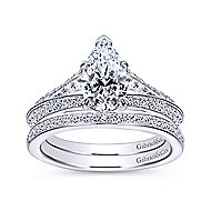 Nila 14k White Gold Pear Shape Split Shank Engagement Ring angle 4