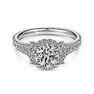 Nina 14k White Gold Round Halo Engagement Ring angle 1