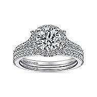 Nina 14k White Gold Round Halo Engagement Ring angle 4