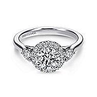 Noelle 14k White Gold Round 3 Stones Halo Engagement Ring angle 1