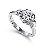 Noelle 14k White Gold Round 3 Stones Halo Engagement Ring angle 3