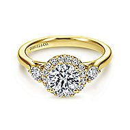 Noelle 14k Yellow Gold Round Halo Engagement Ring angle 1