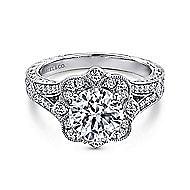Nolita 14k White Gold Round Halo Engagement Ring angle 1