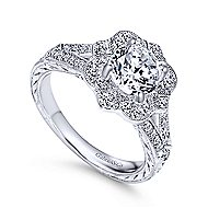 Nolita 14k White Gold Round Halo Engagement Ring angle 3