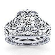 Nolita 14k White Gold Round Halo Engagement Ring angle 4