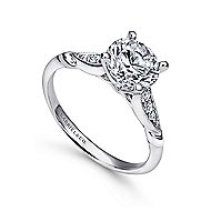 Nora 14k White Gold Round Straight Engagement Ring angle 3