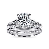 Nora 14k White Gold Round Straight Engagement Ring angle 4