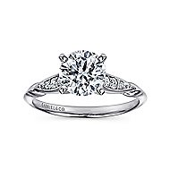 Nora 14k White Gold Round Straight Engagement Ring angle 5