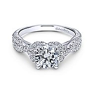 Nori 14k White Gold Round Twisted Engagement Ring angle 1