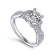 Nori 14k White Gold Round Twisted Engagement Ring angle 3