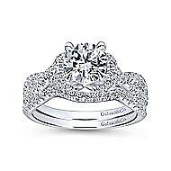 Nori 14k White Gold Round Twisted Engagement Ring angle 4