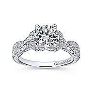 Nori 14k White Gold Round Twisted Engagement Ring angle 5